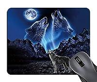 ゲームマウスパッドは、ムーンデザインのマウスパッドの下にハウリングオオカミ、ラップトップとコンピュータのための滑り止めのゴムベースのマウスパッド、かわいいデザインデスクアクセサリー