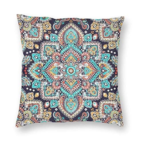 Indian Floral Ethnic Mandala Ornament Henna Tattoo Style Velvet Soft Decorative Square Throw Pillow Case Cushion Cover Pillowcase for Livingroom Sofa Bedroom with Invisible Zipper 20x20 Inches
