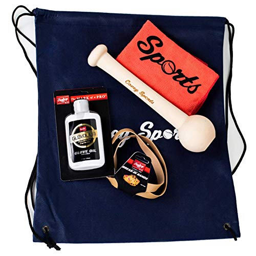Covey Sports Baseball Softball Glove Break in Kit - Mitt Mallet, Rawlings Glove Oil Conditioner, Glove Wrap, Application Cloth, and Storage Bag