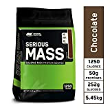 Optimum Nutrition Serious Mass, Mass Gainer Whey, Proteines Musculation Prise de Masse avec Vitamines, Creatine et Glutamine, Chocolat, 16 Portions, 5.45 kg