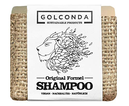 GOLCONDA Haarseife Original Formel | für fettiges Haar und empfindliche Kopfhaut | Shampooseife zertifizierte Naturkosmetik | Vegan | Plastikfrei | Festes Shampoo Seife | Palmölfrei | 1 stück