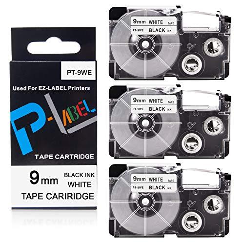 Pristar Compatible Label Tape Replacement for XR-9WE XR-9WE2S for Casio Label Maker Tape 9mm Black on White Use with Casio Label Maker KL-100 KL-60 KL-120 KL-750 KL-750B KL-7000 KL-7200 KL-820, 3-Pack