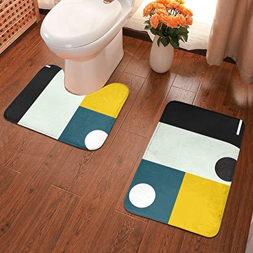 Bauhaus - Juego de 2 alfombras de baño de franela para baño, alfombrilla de ducha y alfombra de inodoro en forma de U, antideslizante, absorbente