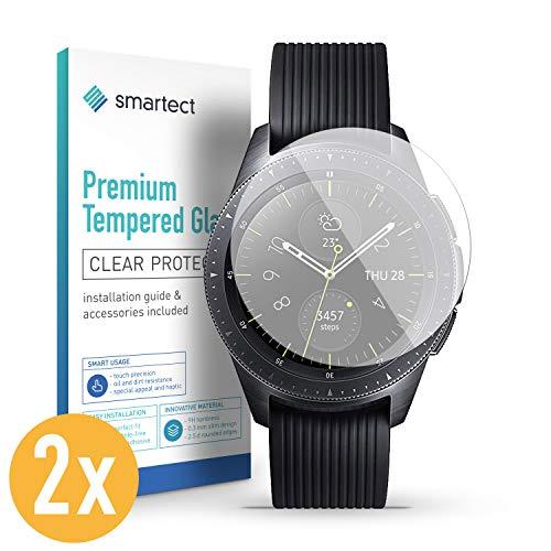 smartect Panzerglas kompatibel mit Samsung Galaxy Watch 42 mm [2 Stück] - Displayschutz mit 9H Härte - Blasenfreie Schutzfolie - Anti Fingerprint Panzerglasfolie