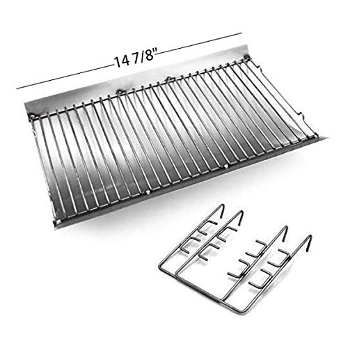 Hongso 27 Inches Ash Pan Fits Chargriller 1224, 1324, 2121, 2222, 2727, 2828, 2929 Charcoal Grills, Charbroil 17302056 Grill Repair Replacement Part with Fire Grate Hanger,APC508