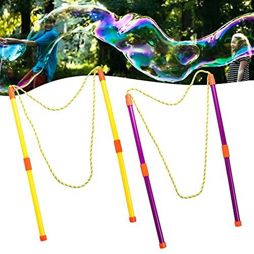 Gxhong 2 Paia Bacchetta per Bolle,Bolle di Sapone Impostato Creativo di Bolle Bacchette Bolla Gigante Bambini Bubble Maker,per Bambini e Adulti,Festa di Compleanno,Giochi al Coperto e all'Aperto