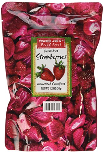 Trader Joe's Dried Fruit Freeze Dried Strawberries Unsweetened and Unsulfured 1.2 OZ (3 Pack )