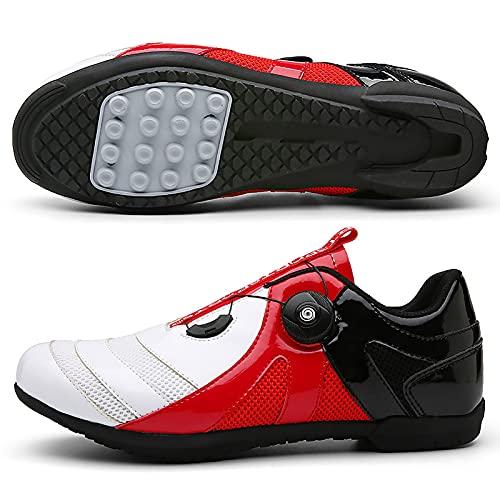 DSMGLRBGZ Zapatillas MTB, 36-47 Transpirables Antideslizante, Amortiguadoras para Carretera Hombre Mujer Zapatillas Niño Niña, Talla Grande,Rojo,40