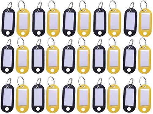 Hwljxn 30 x farbige Kunststoffschlüssel-FOBS-Gepäck-ID-Tags-Etiketten-Schlüsselringe mit Namenskarten, ideal für viele Anwendungen - Bündel von Tasten, Kofferanhänger, Memory Sticks, Namensschilder fü