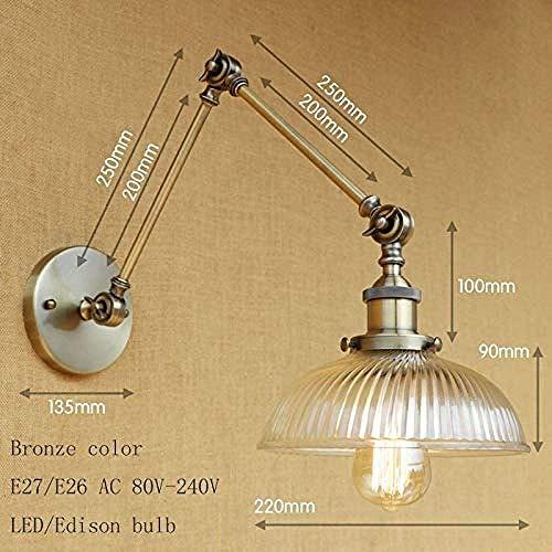 Meixian Wandlamp, retro loft industrieel glas, lampenkap, vrij instelbaar, lange swing voor woonkamer slaapkamer restaurant bar LED E27 A eenvoudig retro