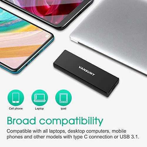 Mini Portable SSD 120GB USB 3.1 & Type C, Vansuny Ultra Slim Mini Tragbare Externe Festplatte Solid State Flash-Laufwerk für PC/Desktop/Laptop/Tablets/Smartphones, 550 MB/s Übertragungsraten, Schwarz
