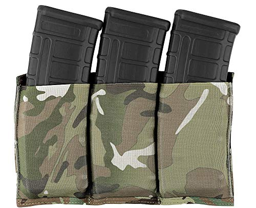 KRYDEX Molle 5.56mm Triple Magazine Pouch Speed Mag Pouches for .223 5.56 Magazine (Multicam)