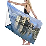 WOTAKA Toallas de baño,de playa,Castillo de Chillon Suiza Famoso pintoresco castillo medieval Lago Ginebra Rock Alpes Arquitectura Arte,Molto assorbente e morbido, adatto per yoga, fitness e campeggio
