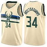 WOLFIRE SC Camiseta de Baloncesto para Hombre, NBA, Milwaukee Bucks #34 Giannis Antetokounmpo. Bordado, Transpirable y Resistente al Desgaste Camiseta para Fan (Beige, L)