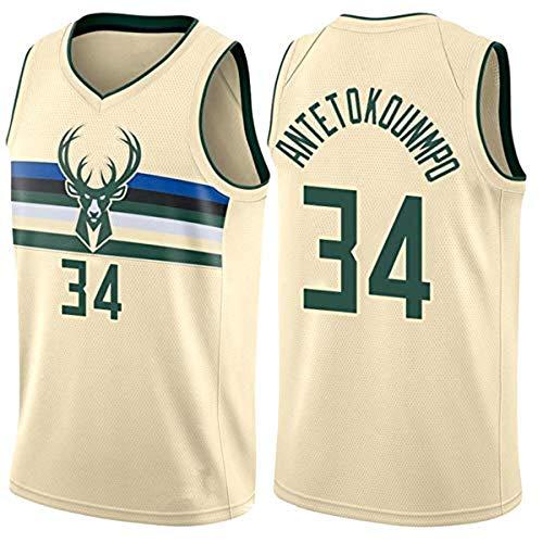 WOLFIRE SC Camiseta de Baloncesto para Hombre, NBA, Milwaukee Bucks #34 Giannis Antetokounmpo. Bordado, Transpirable y Resistente al Desgaste Camiseta para Fan (Beige, XL)
