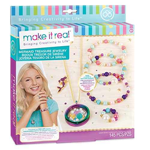 Make It Real - Mermaid Treasure Jewelry. DIY Mermaid Themed Jewelry Making Kit for Girls. Guides Tweens to Craft a Unique Pendant Locket Necklace, Ring, and Two Beaded Charm Bracelets