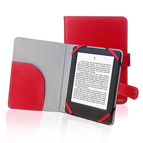ENJOY-UNIQUE Funda de cuero de la PU del estilo del libro para el lector de libros electrónicos de 6 pulgadas Funda para Sony / kobo/pocketbook/nook/tolino 6 pulgadas ebook reader (rojo)
