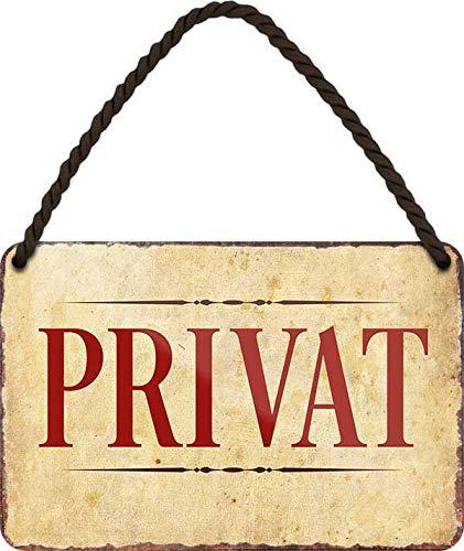 Cartel de chapa con texto en alemán 'PRIVAT', decoración para puerta de entrada de casa, cartel colgante para tienda, bar, bar, mostrador, bar, bar, bar, bar, bar, 18 x 12 cm