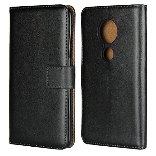 Copmob Motorola Moto E5 Plus Hülle Handyhülle Motorola Moto E5 Plus [Premium Leder] [Standfunktion] [Kartenfach] [Magnetverschluss] Schlanke Leder Brieftasche für Motorola Moto E5 Plus Schwarz