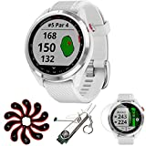 Garmin 010-02572-11 Approach S42 GPS Golf Watch, Polished Silver with White Bundle with Deco Essential Screen Protector 2-Pack + 7-in-1 Multi-Function Golf Tool + Zippered Golf Iron Head Covers Set
