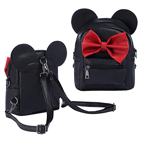 Women Girls Kids Carton PU Leather Mouse Bowknot Mini Cute Fashion Backpack Satchel Shoulder Travel Casual School Bag (Black)