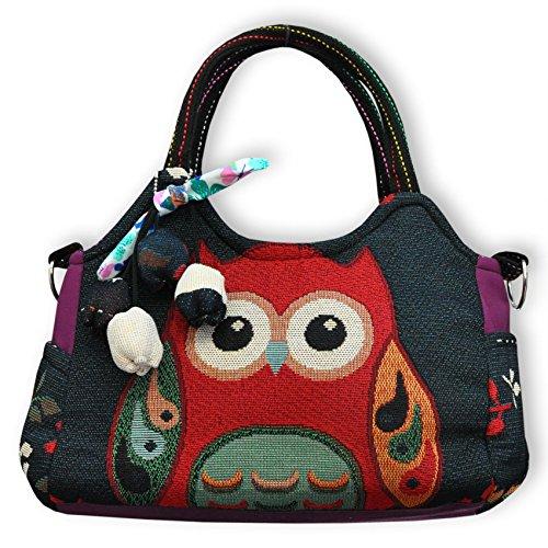 Wilai Eule Eulen Tasche Handtasche Henkeltasche ***EULE*** Shoppertasche Schultertasche Eulenmotiv Umhängetasche - verschiedene Motive erhältlich - VINTAGE LOOK/absolut cool und stylish (42238)