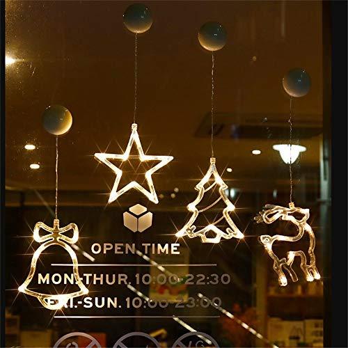 Wankd Led fensterbeleuchtung, 1 PCS Fensterbilder LED warm weiß mit Saugnapf Weihnachtsbaum Bell Stern Batterie Innen Fensterdeko Weihnachten Weihnachtsdeko Xmas Motive (Pentagramm)