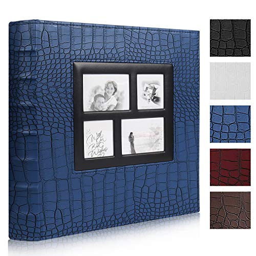 RECUTMS Photos Book Album 4×6 Hold 500 Pockets Leather Cover 3-Ring Binder Family Picture Album for Family Wedding Anniversary Baby Vacation Daughter Gift(Black)