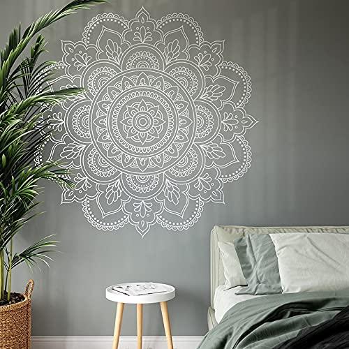 Decoración moderna del hogar Bohemia Flor Mandala Pegatinas de pared Arte Decoración interior Sala de estar Dormitorio Calcomanías Murales de yoga A9 57x57cm