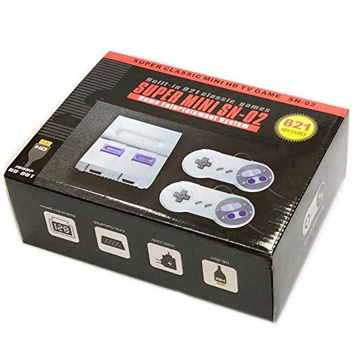 SKAL juegos consola mini classic, retro videojuegos Juegos integrados 821 con salida HDMI y dos controladores, 8bit entertainment system