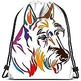 Medsforu Mochila con Cordón Bolsas Cincha Deportiva Retrato Colorido del Esquema Perro Terrier Escocés para El Gimnasio De La Escuela