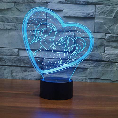 Yujzpl 3D-illusielamp Led-nachtlampje, USB-aangedreven 7 kleuren Knipperende aanraakschakelaar Slaapkamer Decoratie Verlichting voor kinderen Kerstcadeau-Kussen besneeuwde dag