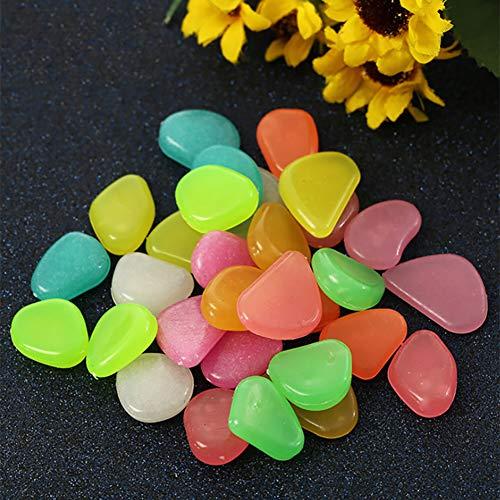 WFBP Piedras Luminosas Piedras Decorativas Guijarros Piedras Decorativas Fluorescentes Decorativas para Jardín Pasillo Yarda & Pecera Decoración Piedras,Bright Yellow