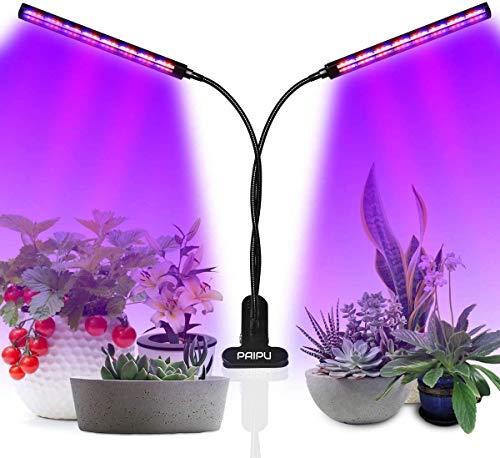 PAIPU LED Pflanzenlampe, UV & IR Lampe 96 LEDs Grow Lampe dimmbar Pflanzenlicht Vollesspektrum Pflanzen Wachstumslampe mit Timing Wachstumslampe, 3 Timer 3/6/12H Zimmerpflanzen