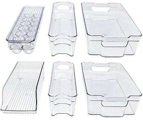 Sorbus Fridge Bins and Freezer Organizer Refrigerator Bins Stackable Storage Containers (6-Piece)