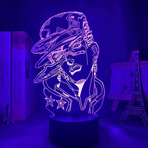 KATA 3D Lámpara Anime JoJo Bizarre Aventura para Dormitorio Decoración Luz Regalo de Cumpleaños Manga JoJo Figura Led Noche Luz Jotaro Kujo