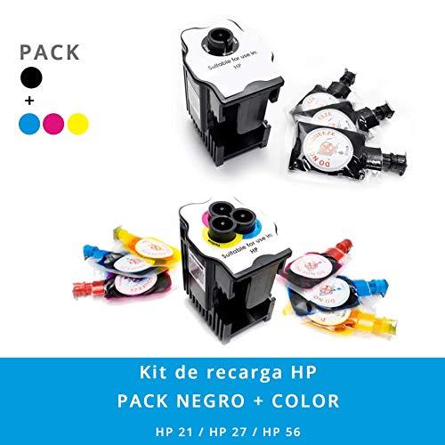 Kit de Recarga para Impresoras HP 21/22 / 27/28 / 56/57 · Incluye 2 Estaciones de Recarga + 9 Recargas (3 Negro x 6 ml) (2 Cyan x 6 ml) (2 Magenta x 6 ml) (2 Amarillo x 6 ml)
