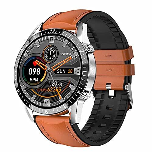 XHJL Actividad Fitness Tracker Reloj Inteligente Pantalla táctil Completa Presión Arterial Sueño Monitor cardíaco P68 Podómetros Bluetooth a Prueba de Agua para Hombres y Mujeres (Brown)