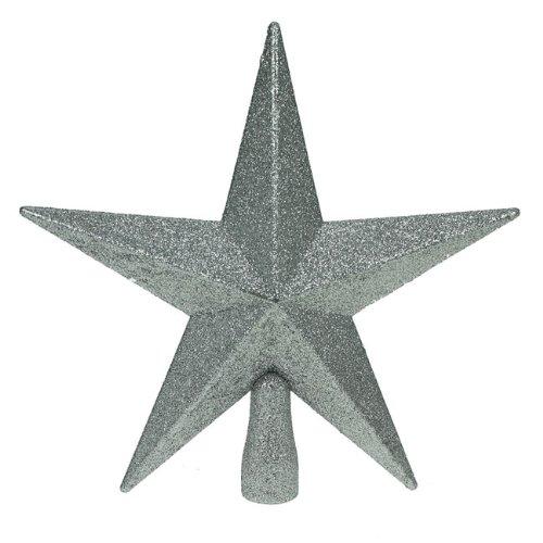 Décoration Arbre de Noël Topper Étoile Brillante - Argent 20cm