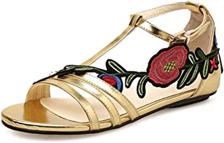 Women Sandals Fashion Special Flat Roman Embroidery Floral Casual Buckle Shoes (Color : Gold, Size : 2.5 UK)