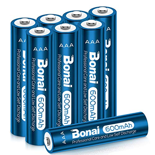 BONAI Akku AAA 600mAh Wiederaufladbare Batterien Geringe Kapazität 1,2V AA NI-MH Aufladbare Akkubatterien geringe Selbstentladung (8 Stück)