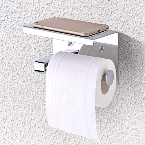 raguso Soporte para Papel higiénico Estante Soporte para pañuelos montado en la Pared Soporte para Papel higiénico para baño de Acero Inoxidable 304 Diseño de Soporte para teléfono