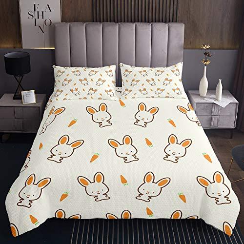 Tbrand Colcha para niñas con diseño de conejito de dibujos animados para niños y niñas, juego de ropa de cama de tamaño individual, 2 unidades