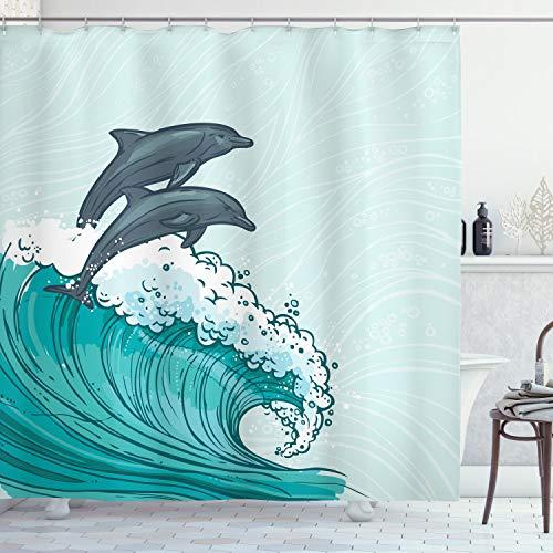 ABAKUHAUS Delphin Duschvorhang, Meereswellen-Skizze-Kunst, mit 12 Ringe Set Wasserdicht Stielvoll Modern Farbfest & Schimmel Resistent, 175x220 cm, Anthrazit grau Teal