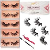 GOO GOO Mink Lashes, Fake Eyelashes 25mm Dramatic Long 5 Styles Crossed Cluster 100% Siberian 3D Mink Fur Eyelashes Natural Layered Hand Made Strips Eyelashes Reusable Make Up Real False Eyelashes