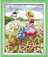 クロスステッチキット,DIY 手工刺绣套件アート11CT印刷十字绣 パターン スタンプ刺繍スターターキット,花畑,家庭刺繍装飾品,手作りホリデーギフト-16×20インチ