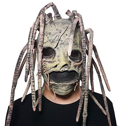 2019 Corey Taylor Full Head Latex Mask Vintage Green Face Hood Dreadlocks Slipknot Fancy Dress Halloween Cosplay Music Party Prop