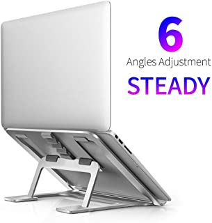 Portable Laptop Stand, Foldable Adjustable Laptop Stand for Desk, Aluminum Ventilated Stand Anti-Slip Silicone Pad, Laptop Riser Ergonomic Portable Holder for 11