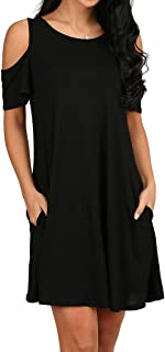OFEEFAN Women's Cold Shoulder Tunic Top T-Shirt Swing...