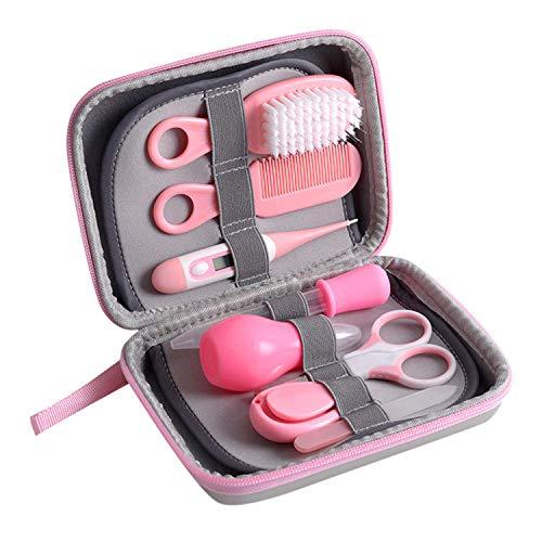 Kit de toilettage pour bébé 8 pièces - Kit de soins de santé pour voyage à la maison avec thermomètre - Coupe-ongles - Ciseaux - Lime à ongles - Rose